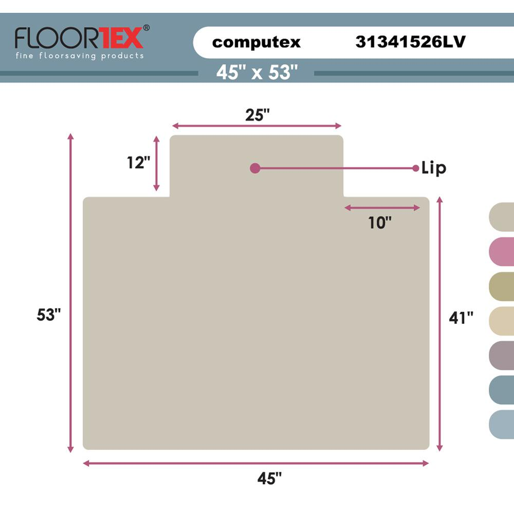 "Computex Anti-Static Advantagemat, PVC Chair Mat, for standard pile carpets (3/8"" or less), Rectangular with Lip, Size 45"" x 53"". Picture 9"