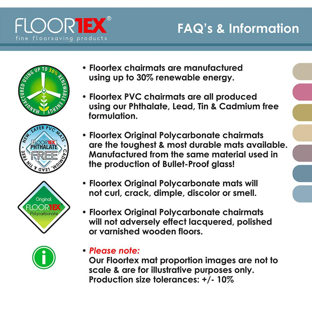 """EcoTex Evolutionmat, Recyclable Chair Mat, For Standard Pile Carpets (3/8"""" or less), Rectangular with Lip, Size 48"""" x 51"""". Picture 2"""