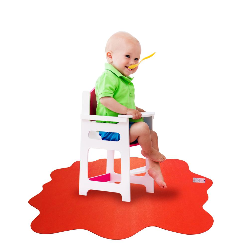 """Multi-Purpose High Chair / Play Mat. Gripper back for use on carpets. Volcanic Red. 40"""" x 40"""" (max). Picture 9"""