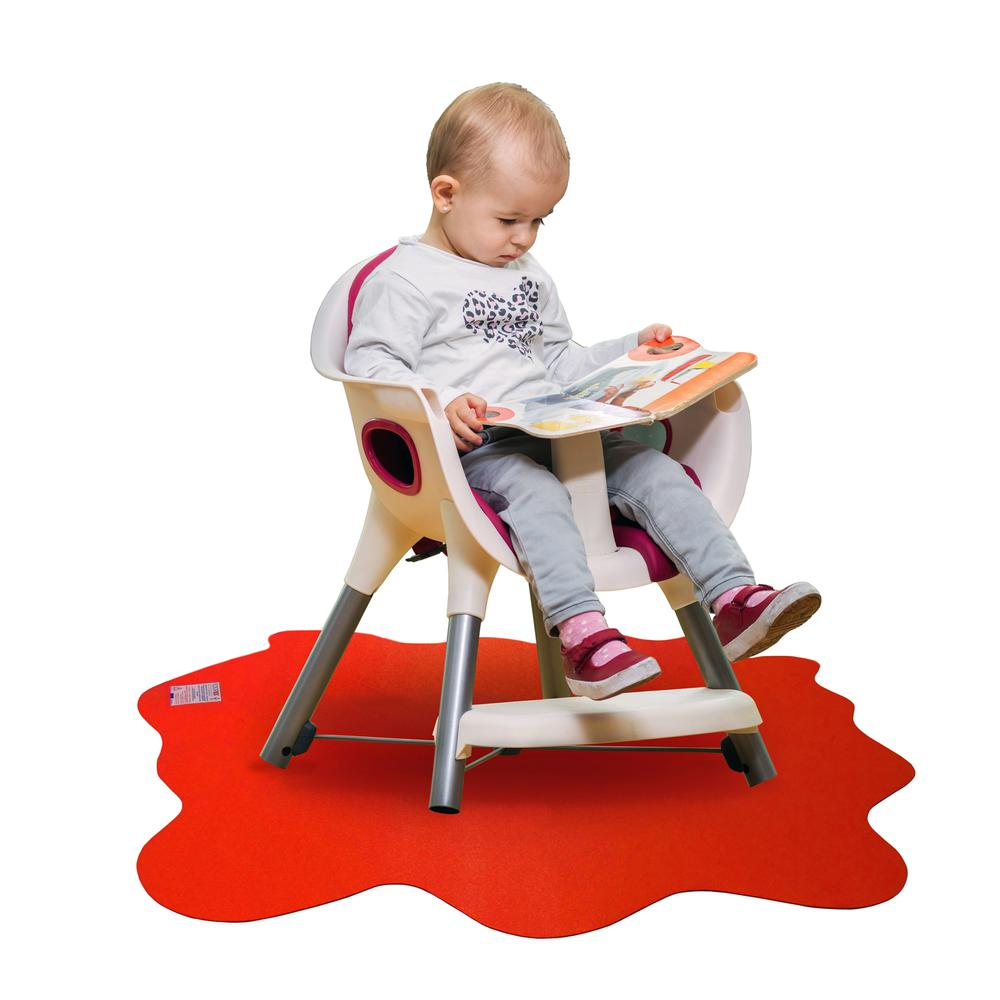 """Multi-Purpose High Chair / Play Mat. Gripper back for use on carpets. Volcanic Red. 40"""" x 40"""" (max). Picture 7"""