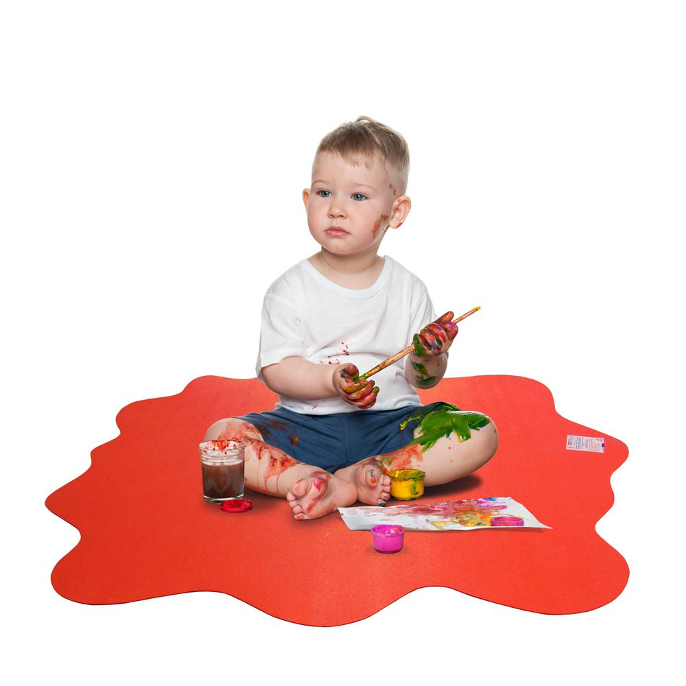 """Multi-Purpose High Chair / Play Mat. Gripper back for use on carpets. Volcanic Red. 40"""" x 40"""" (max). Picture 2"""