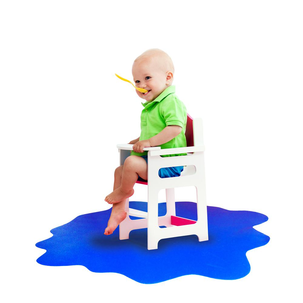 "Multi-Purpose High Chair / Play Mat. Smooth back for use on hard floors. Caribbean Blue. 40"" x 40"" (max). Picture 8"