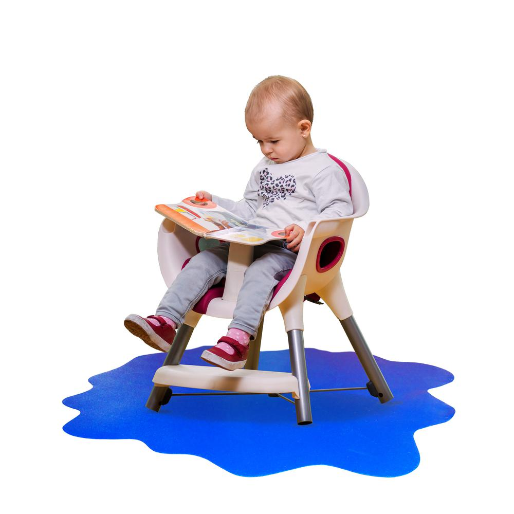 "Multi-Purpose High Chair / Play Mat. Smooth back for use on hard floors. Caribbean Blue. 40"" x 40"" (max). Picture 6"