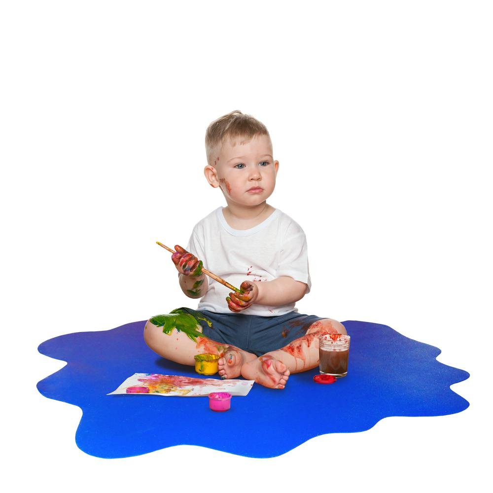 "Multi-Purpose High Chair / Play Mat. Smooth back for use on hard floors. Caribbean Blue. 40"" x 40"" (max). Picture 1"