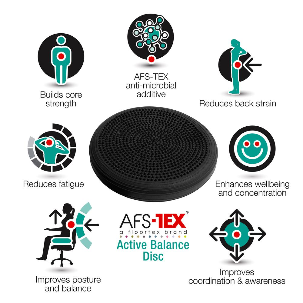 AFS-TEX® Active Anti-Microbial Heavy Duty Home Exercise Wobble Cushion Balance Disc & Pump. Picture 9
