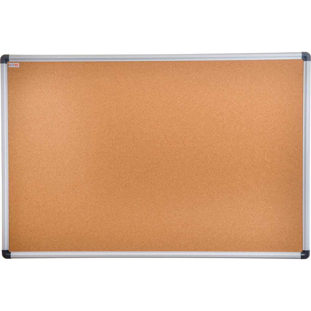 "Viztex Cork Bulletin Board with an Aluminium Trim (24""x18""). Picture 1"