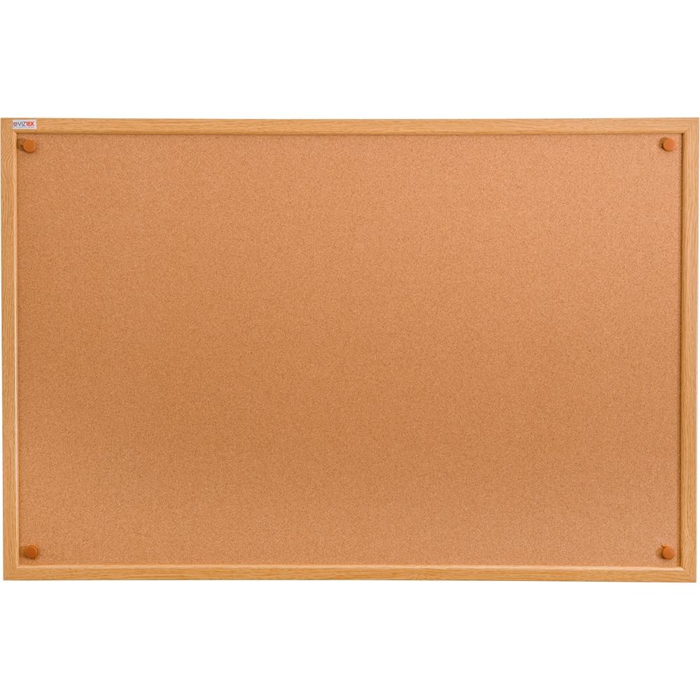 "Viztex Cork Bulletin Board with an Oak Effect Frame (36""x24""). Picture 1"