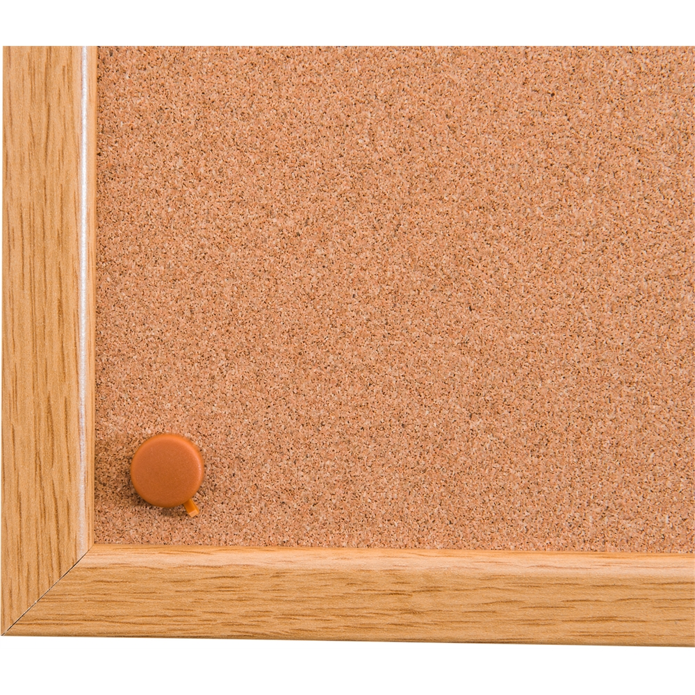 "Viztex Cork Bulletin Board with an Oak Effect Frame (48""x36""). Picture 2"