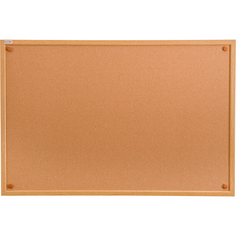 "Viztex Cork Bulletin Board with an Oak Effect Frame (48""x36""). Picture 1"