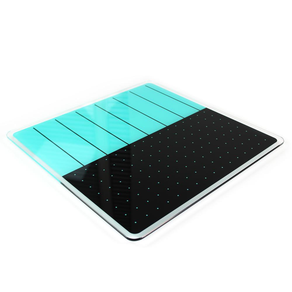 "Teal & Black Plan & Grid Glass Dry Erase Board - 14"" x 14"". Picture 2"