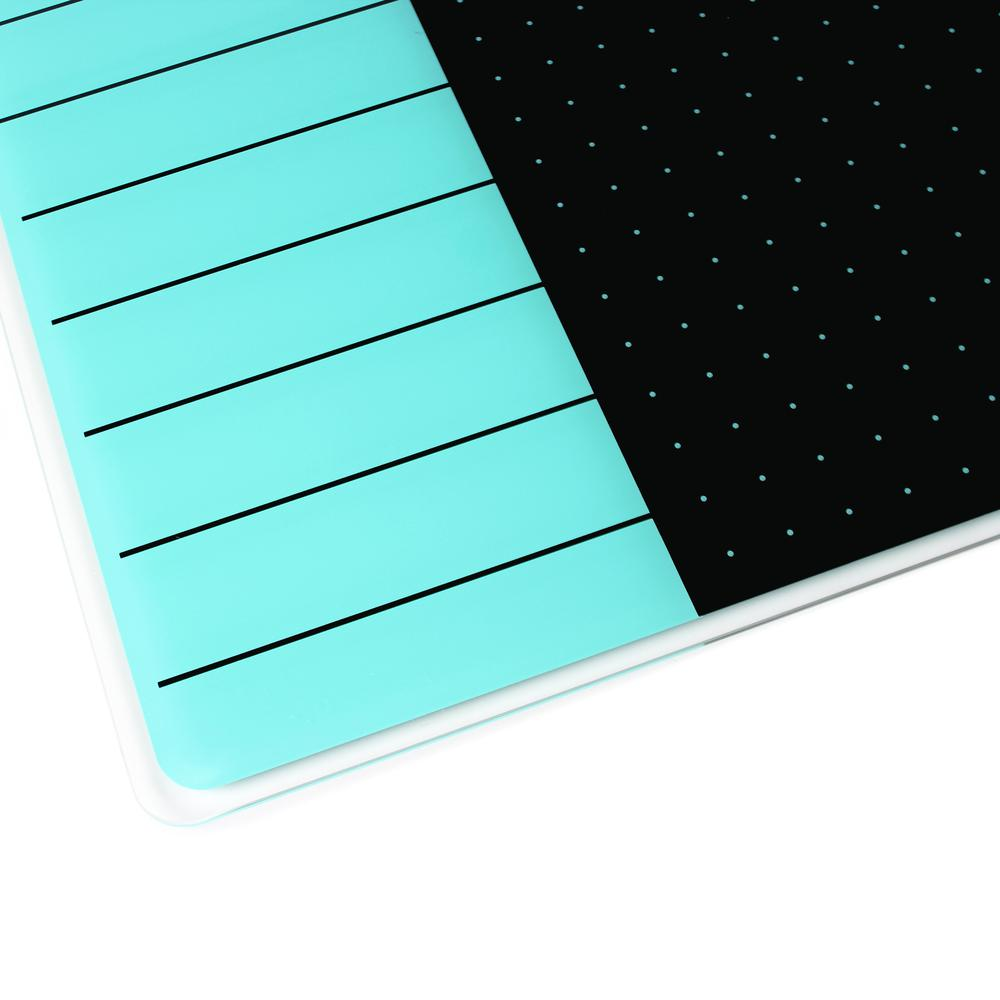 "Teal & Black Plan & Grid Glass Dry Erase Board - 14"" x 14"". Picture 7"