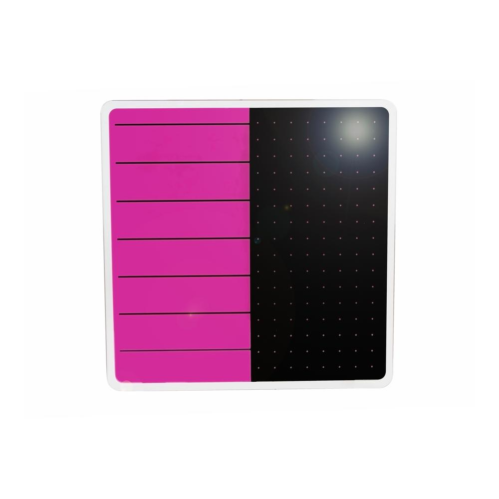 "Violet & Black Plan & Grid Glass Dry Erase Board - 14"" x 14"". Picture 2"