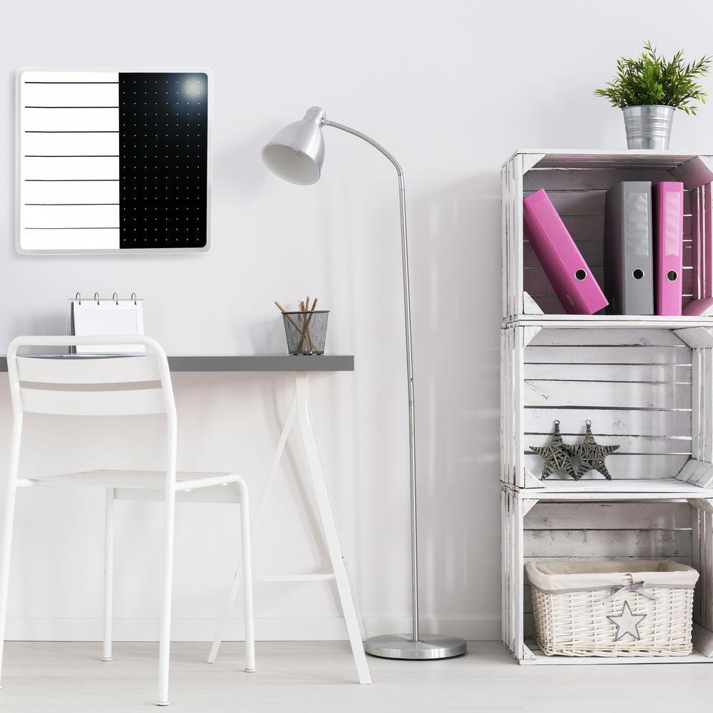 "White & Black Plan & Grid Glass Dry Erase Board - 14"" x 14"". Picture 1"