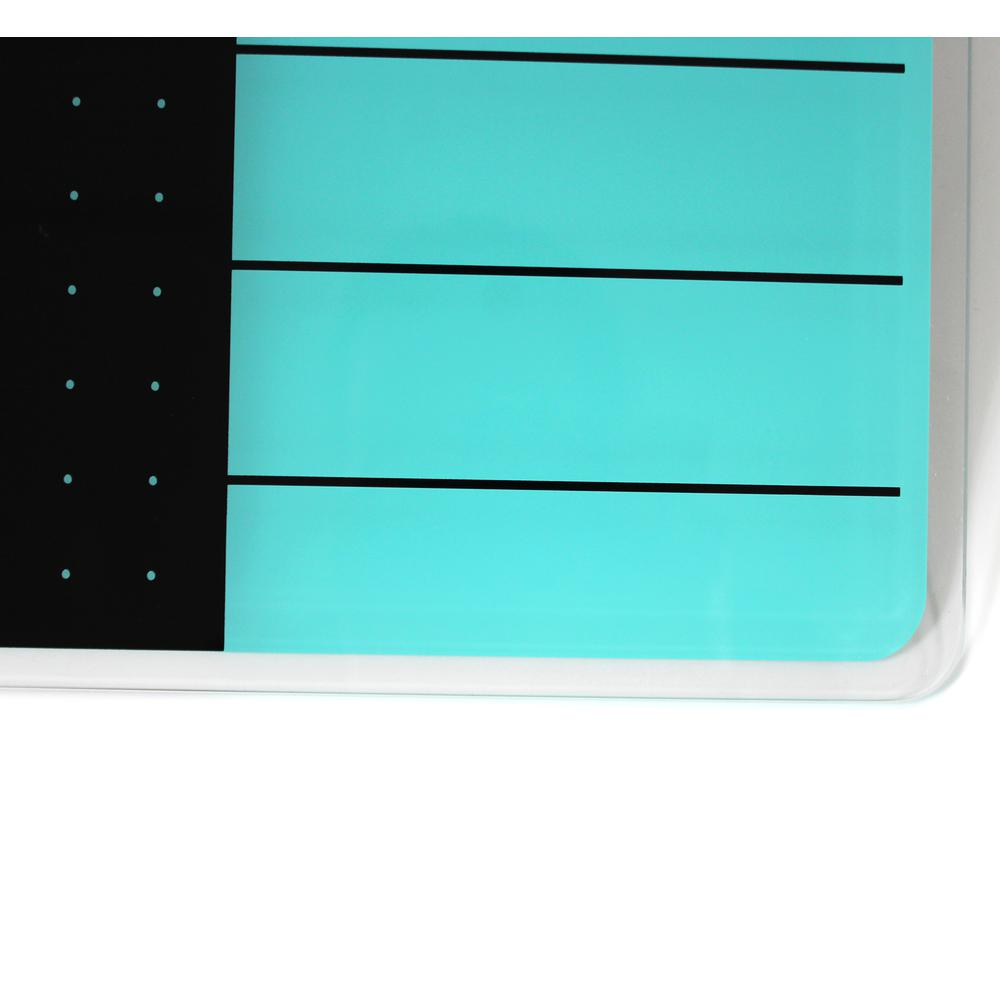 "Teal & Black Plan & Grid Glass Dry Erase Board - 17"" x 23"". Picture 5"