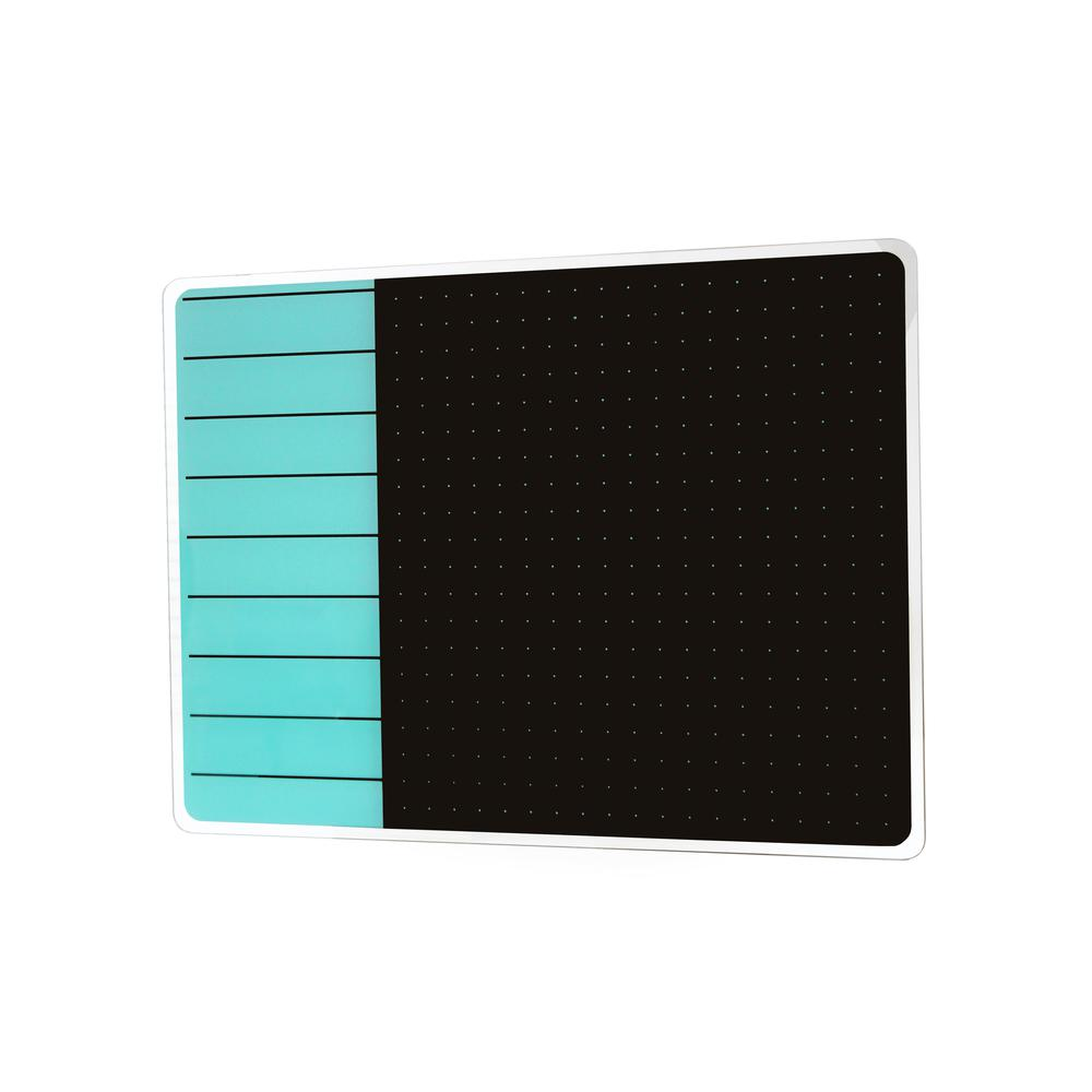 "Teal & Black Plan & Grid Glass Dry Erase Board - 17"" x 23"". Picture 1"