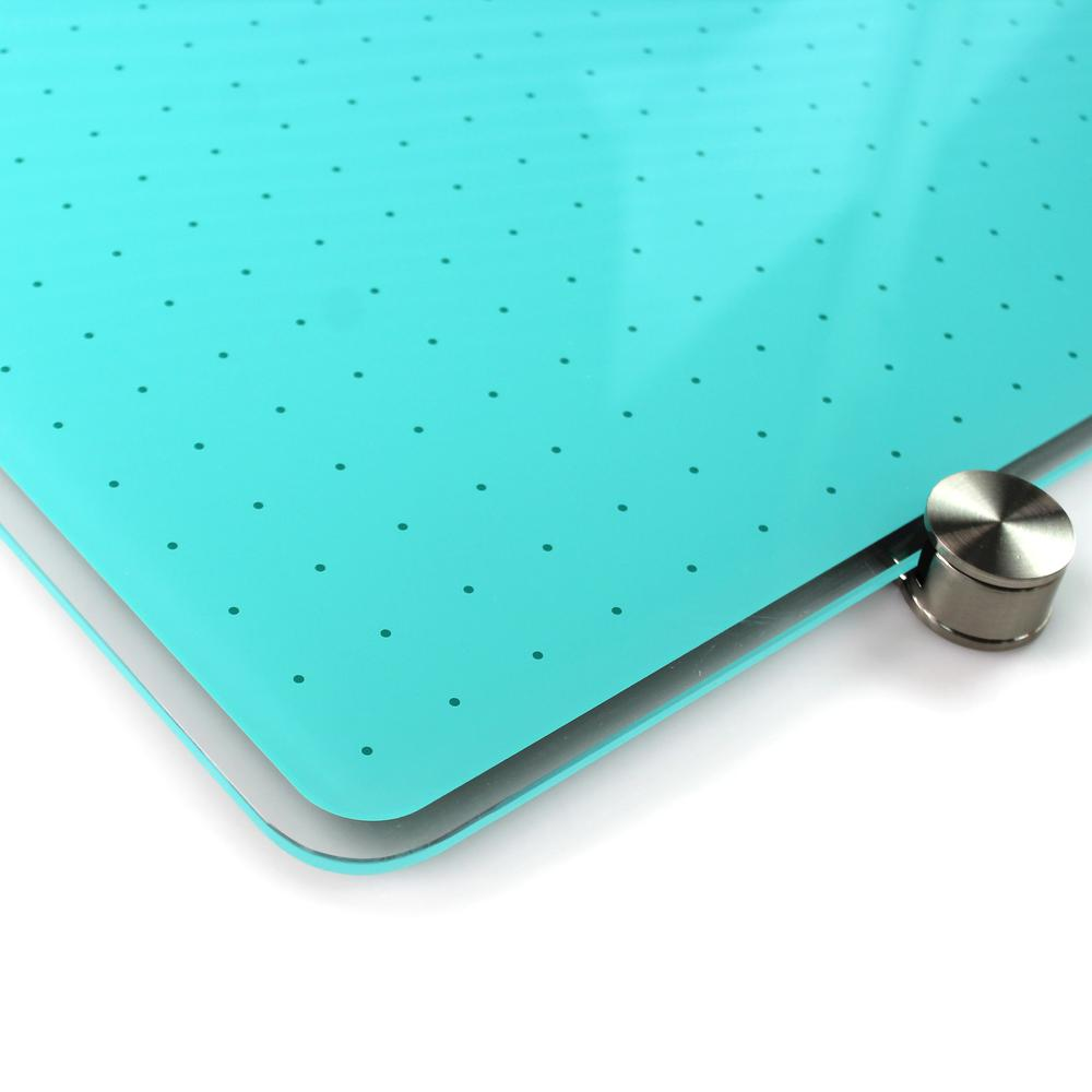"Teal Multi-Purpose Grid Glass Dry Erase Board 30"" x 40"". Picture 3"