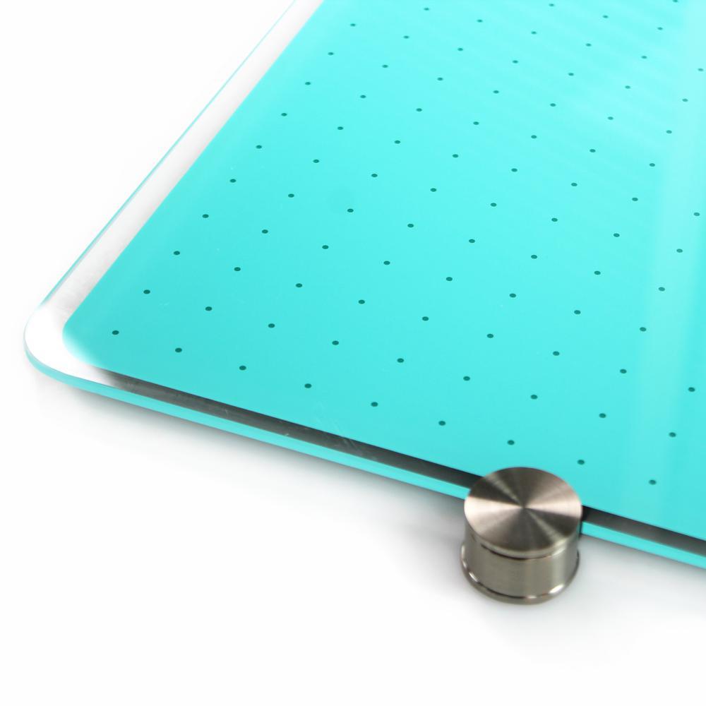 "Teal Multi-Purpose Grid Glass Dry Erase Board 30"" x 40"". Picture 4"