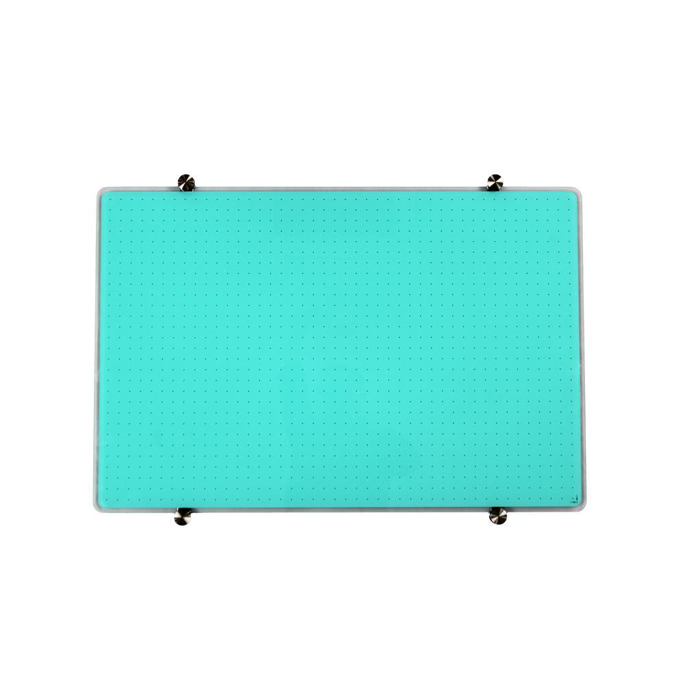 "Teal Multi-Purpose Grid Glass Dry Erase Board 30"" x 40"". Picture 7"