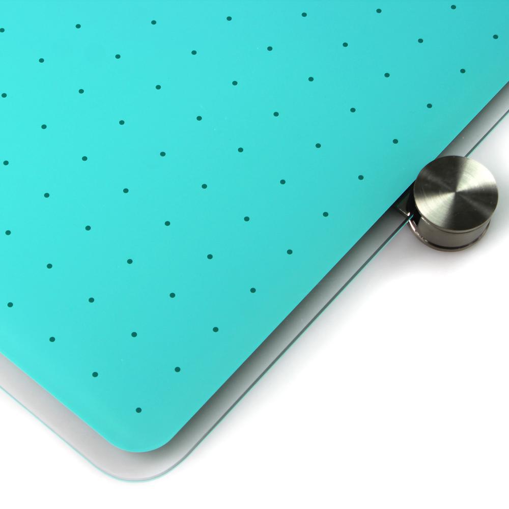 "Teal Multi-Purpose Grid Glass Dry Erase Board 30"" x 40"". Picture 12"