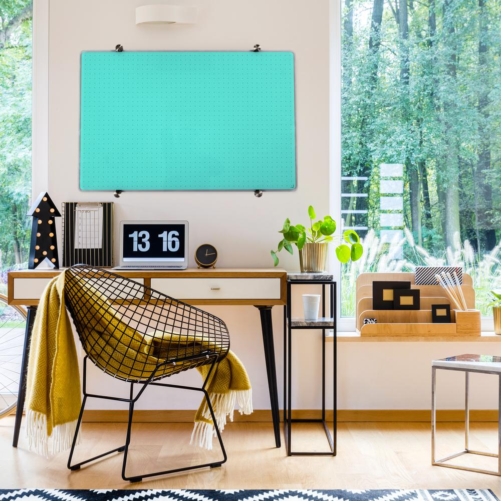 "Teal Multi-Purpose Grid Glass Dry Erase Board 30"" x 40"". Picture 1"