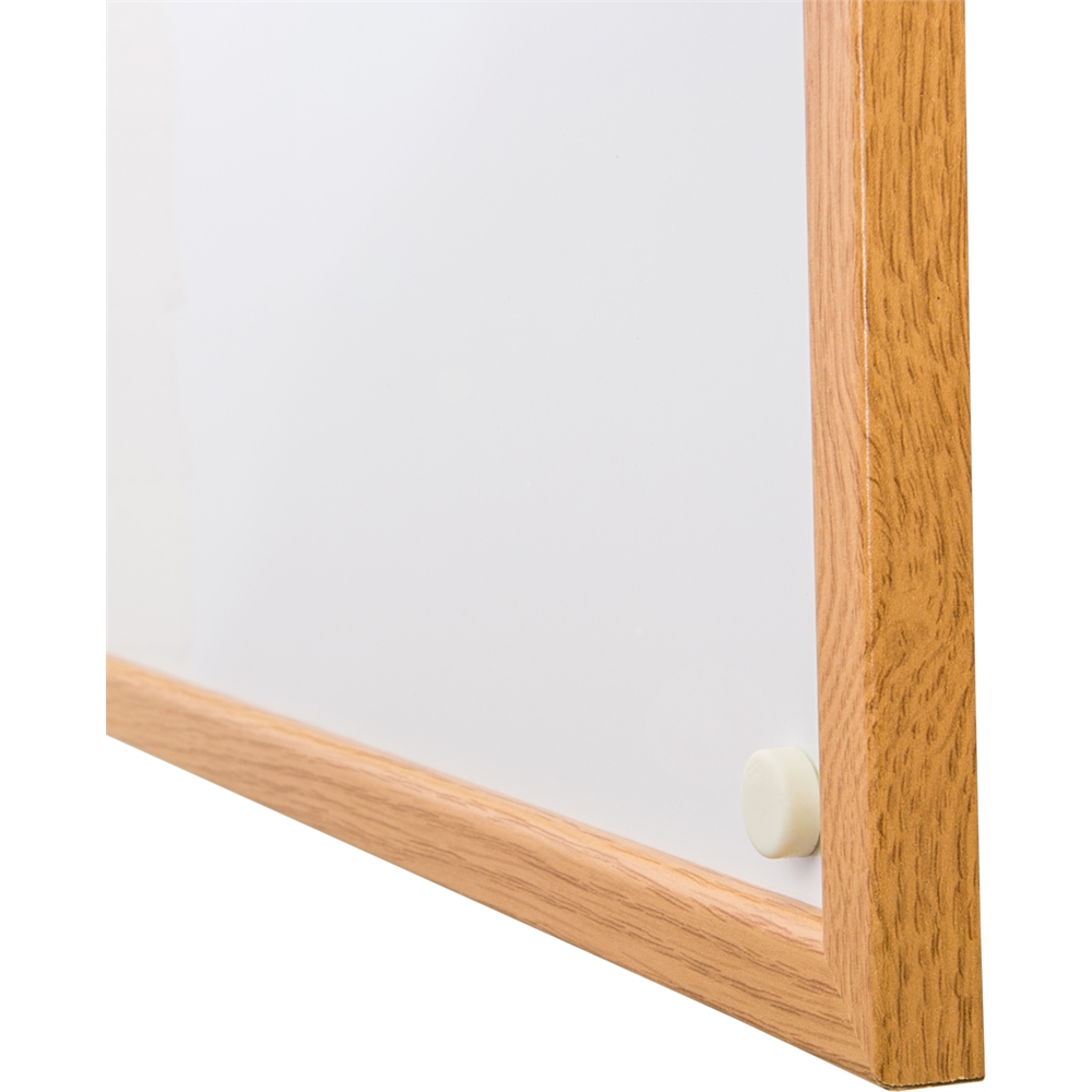"Viztex Lacquered Steel Magnetic Dry Erase Boards with an Oak Effect Surround (36""x24""). Picture 2"