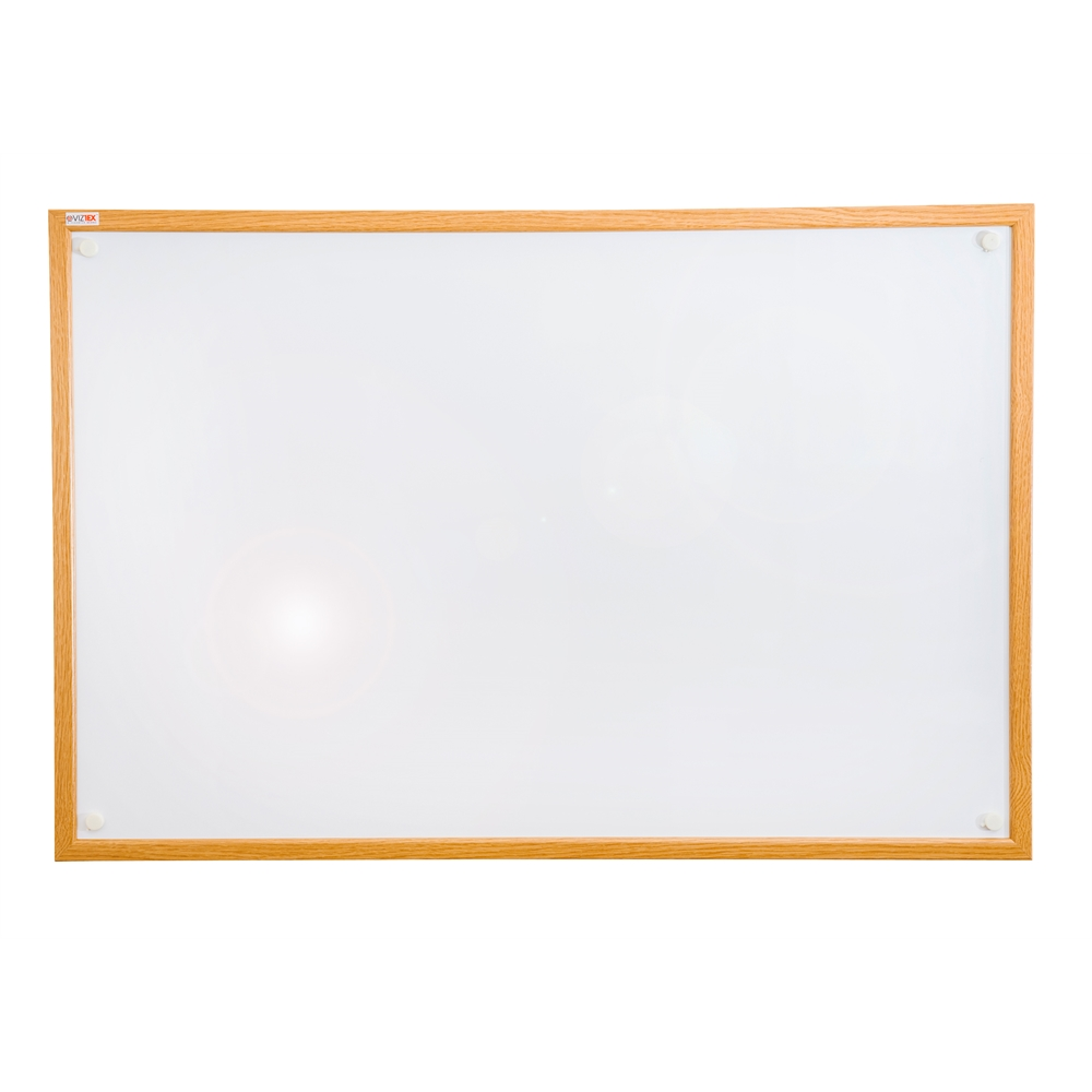 "Viztex Lacquered Steel Magnetic Dry Erase Boards with an Oak Effect Surround (48""x36""). Picture 1"