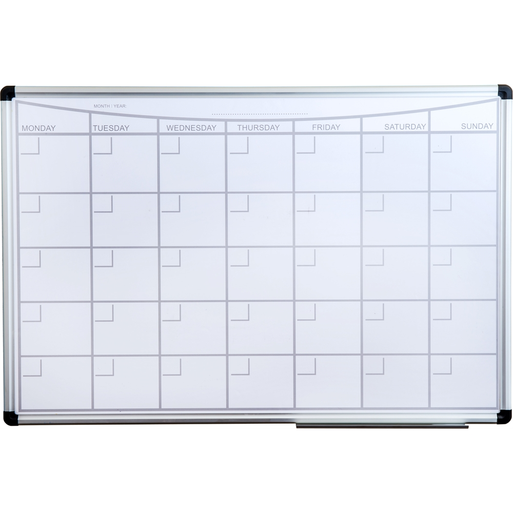 "Viztex Lacquered Steel Magnetic Monthly Planner Dry Erase Board with an Aluminium frame (36""x24""). Picture 1"