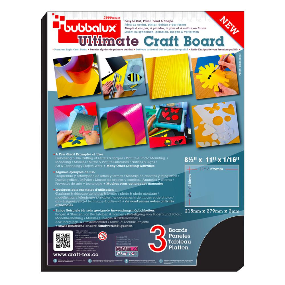 CraftTex, Bubbalux Ultimate Creative Craft Board, Midnight Black, Pack of 3 Letter Size Sheets. Picture 2