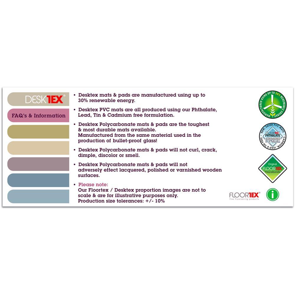 "Desktex, Pack of 2 Desk Protector Mats, Strong Polycarbonate, Rectangular, Size 17"" x 22"". Picture 2"