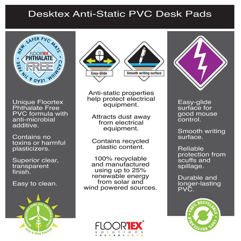"Pack of 4 Anti-Static Vinyl Rectangular Desk Pads - 19"" x 24"". Picture 6"