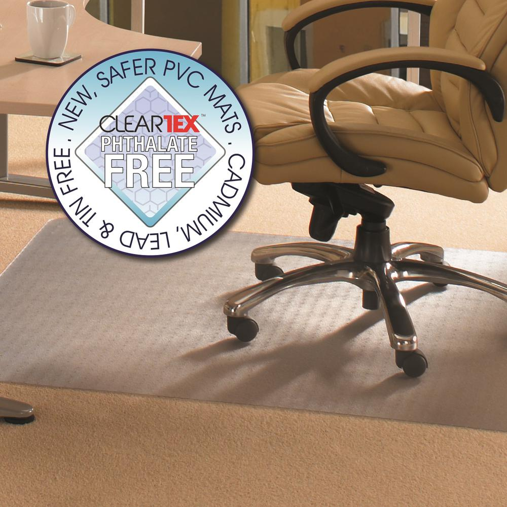 "Cleartex Advantagemat, Chair Mat for Low Pile Carpets (1/4"" or less), Phthalate-Free PVC, Rectangular, Size 48"" x 60"". Picture 1"