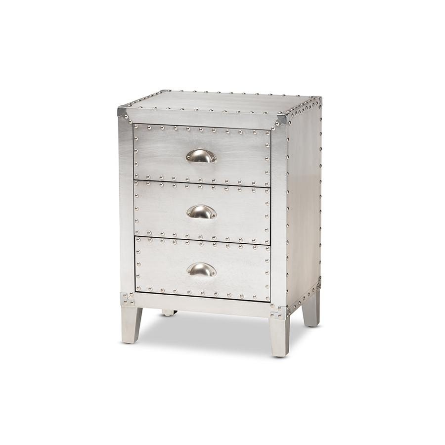 Baxton Studio Claude French Industrial Silver Metal 3-Drawer Nightstand. Picture 1