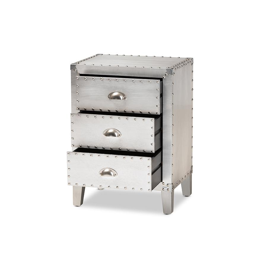 Baxton Studio Claude French Industrial Silver Metal 3-Drawer Nightstand. Picture 3