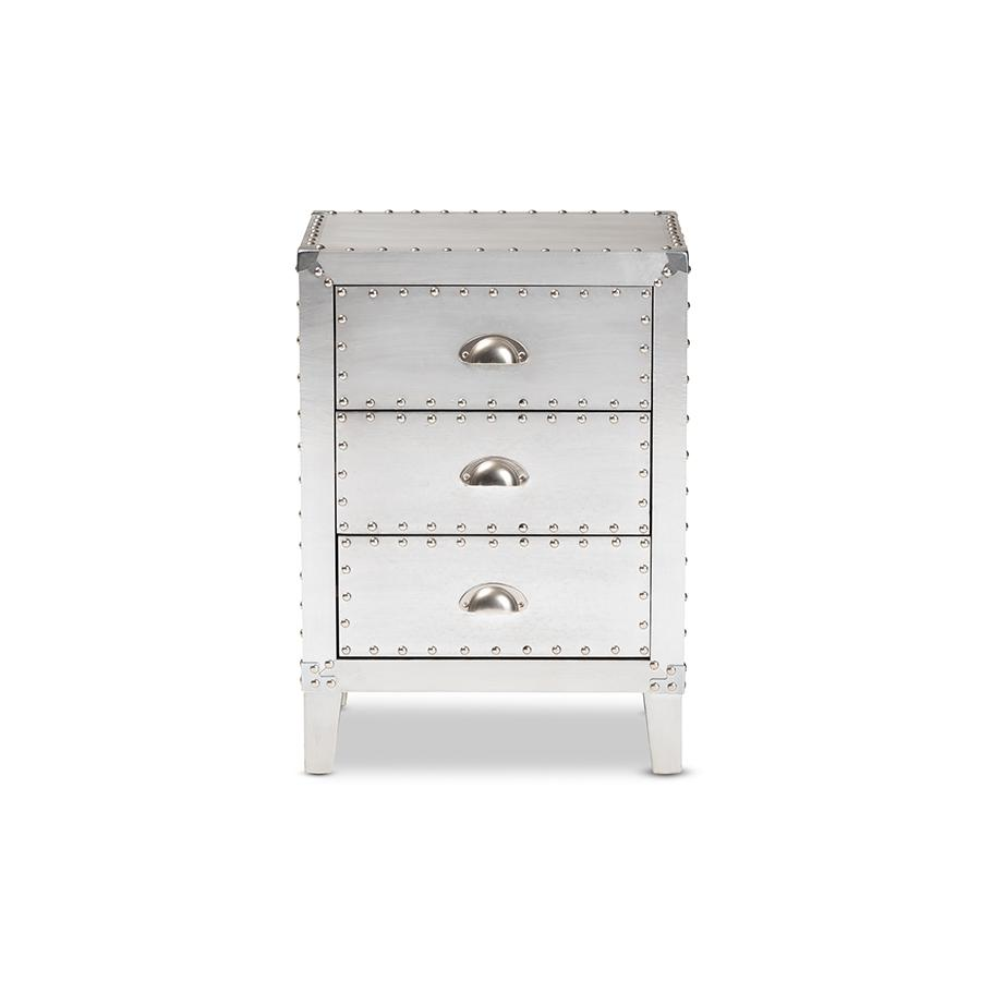 Baxton Studio Claude French Industrial Silver Metal 3-Drawer Nightstand. Picture 4
