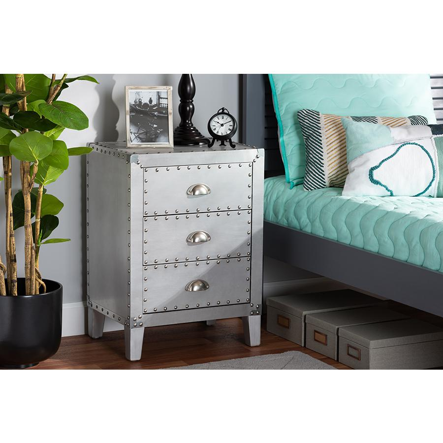 Baxton Studio Claude French Industrial Silver Metal 3-Drawer Nightstand. Picture 2