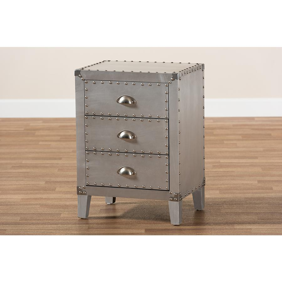 Baxton Studio Claude French Industrial Silver Metal 3-Drawer Nightstand. Picture 9