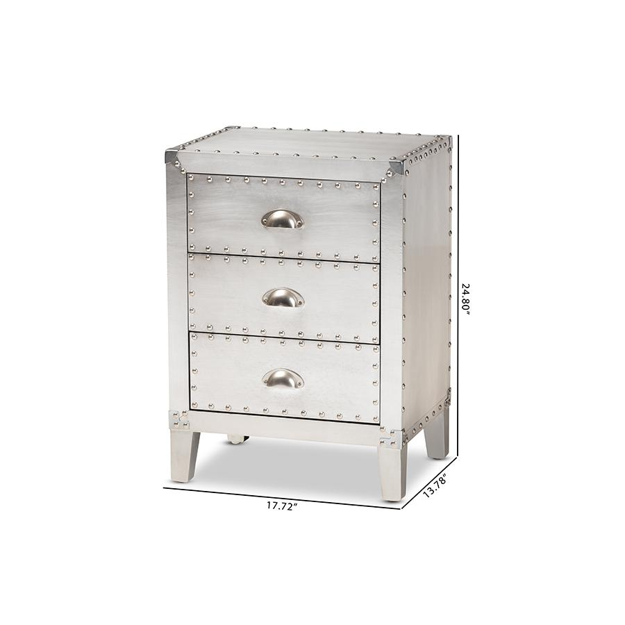 Baxton Studio Claude French Industrial Silver Metal 3-Drawer Nightstand. Picture 10