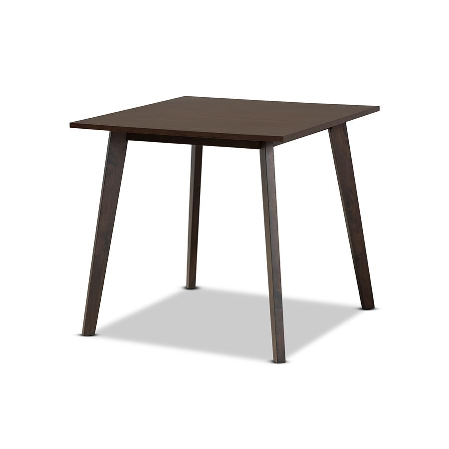 Baxton Studio Britte Mid Century Modern Dark Oak Brown Finished Square Wood Dining Table
