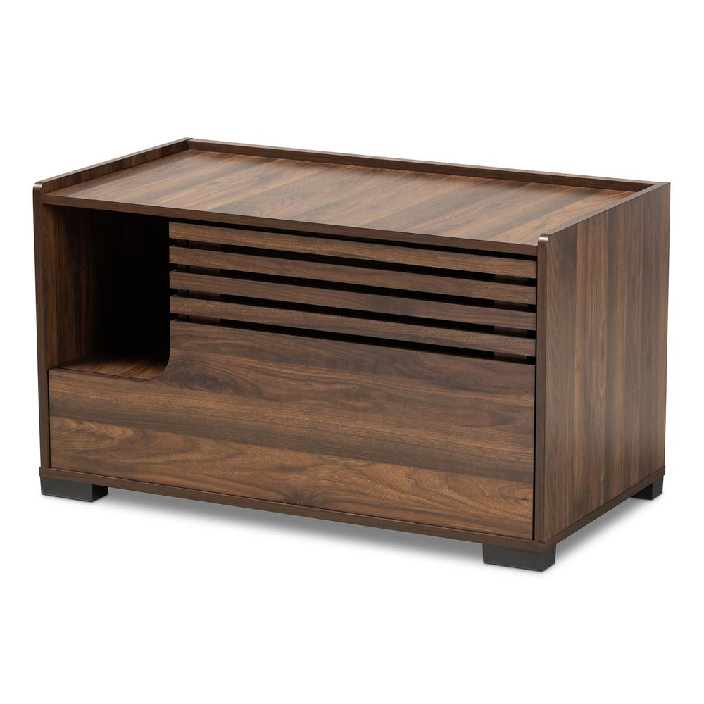 Baxton Studio Claire Modern and Contemporary Walnut Brown Finished Cat Litter Box Cover House. Picture 2