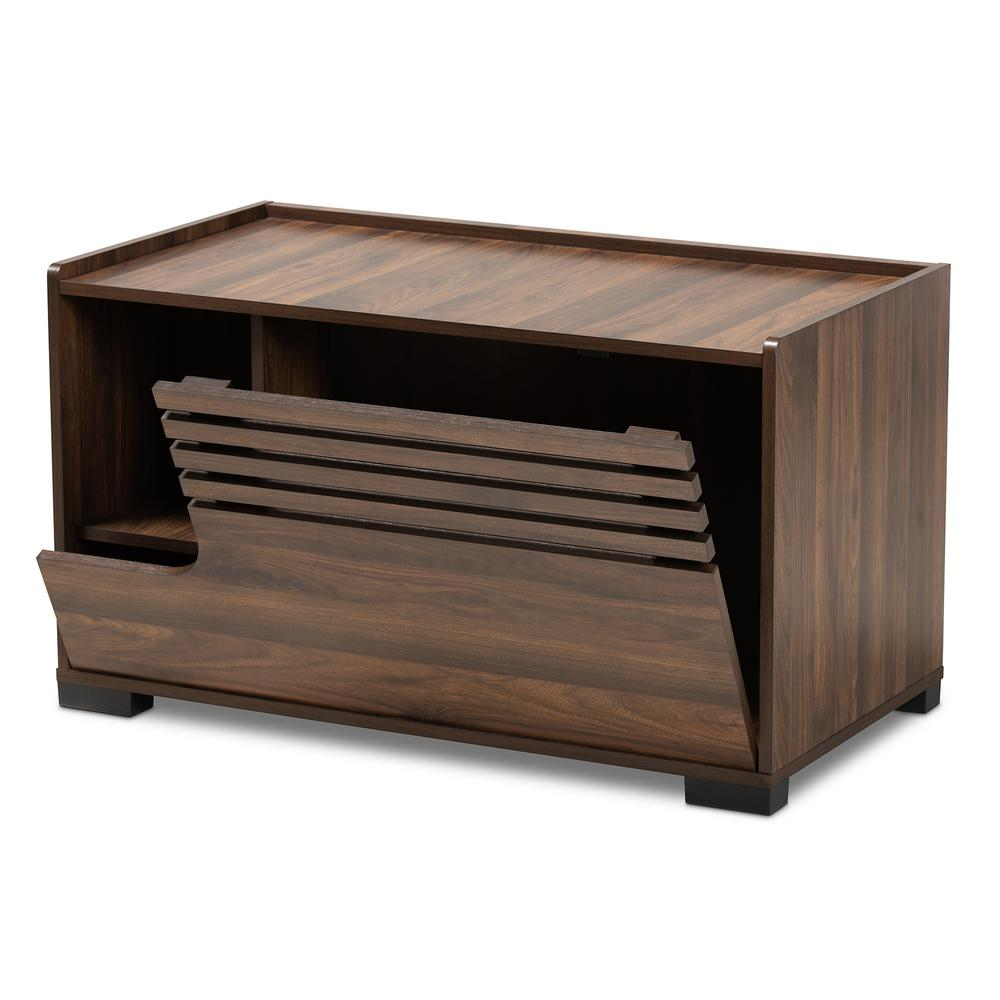 Baxton Studio Claire Modern and Contemporary Walnut Brown Finished Cat Litter Box Cover House. Picture 3