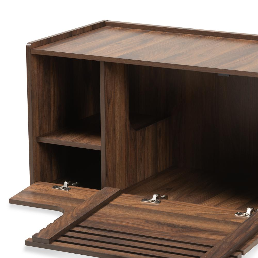 Baxton Studio Claire Modern and Contemporary Walnut Brown Finished Cat Litter Box Cover House. Picture 4