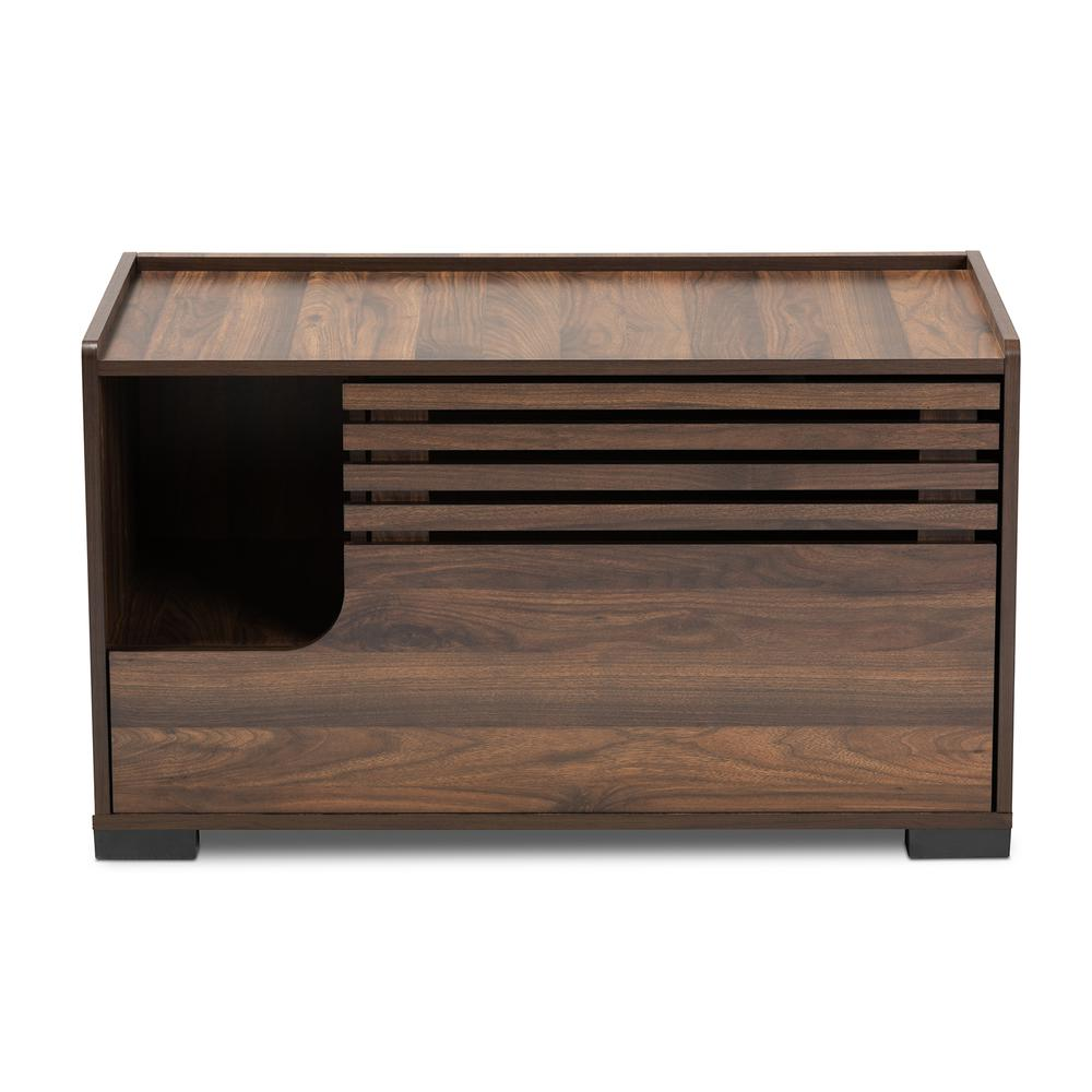 Baxton Studio Claire Modern and Contemporary Walnut Brown Finished Cat Litter Box Cover House. Picture 5