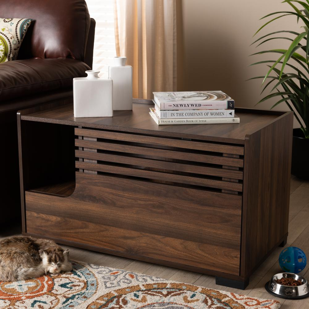 Baxton Studio Claire Modern and Contemporary Walnut Brown Finished Cat Litter Box Cover House. Picture 1