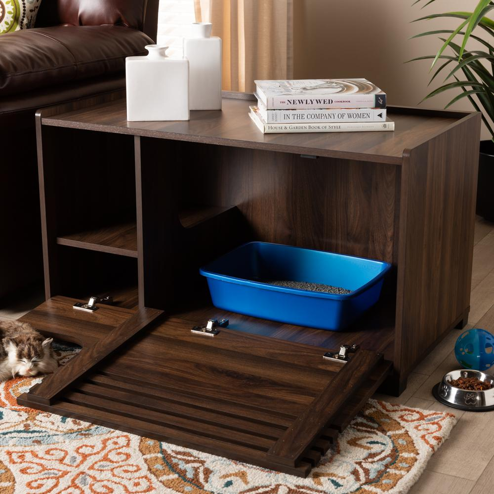 Baxton Studio Claire Modern and Contemporary Walnut Brown Finished Cat Litter Box Cover House. Picture 8