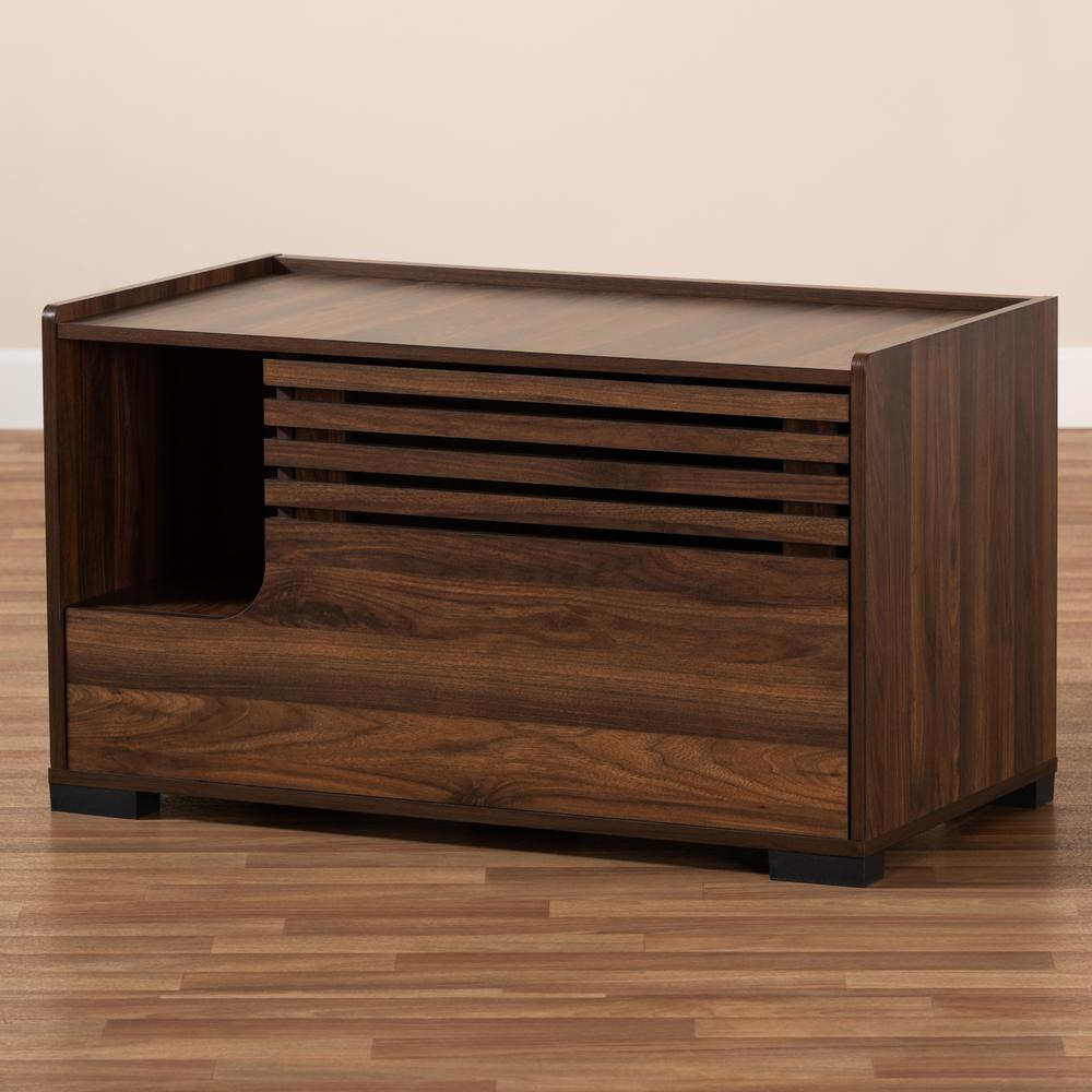 Baxton Studio Claire Modern and Contemporary Walnut Brown Finished Cat Litter Box Cover House. Picture 9