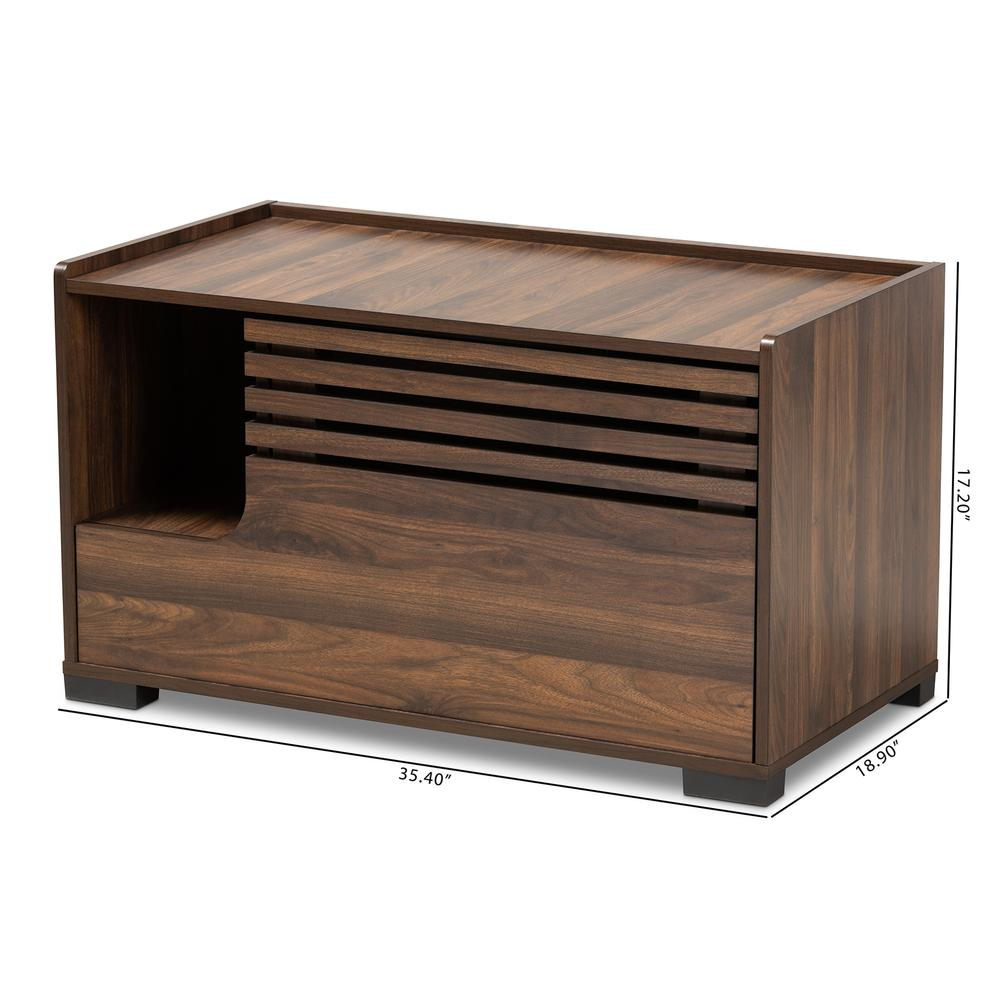 Baxton Studio Claire Modern and Contemporary Walnut Brown Finished Cat Litter Box Cover House. Picture 10