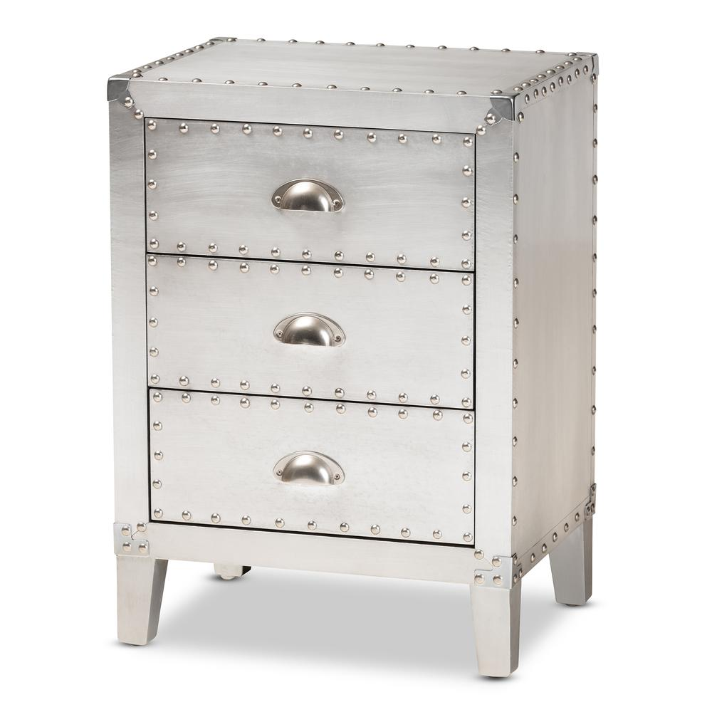 Baxton Studio Claude French Industrial Silver Metal 3-Drawer Nightstand. Picture 11