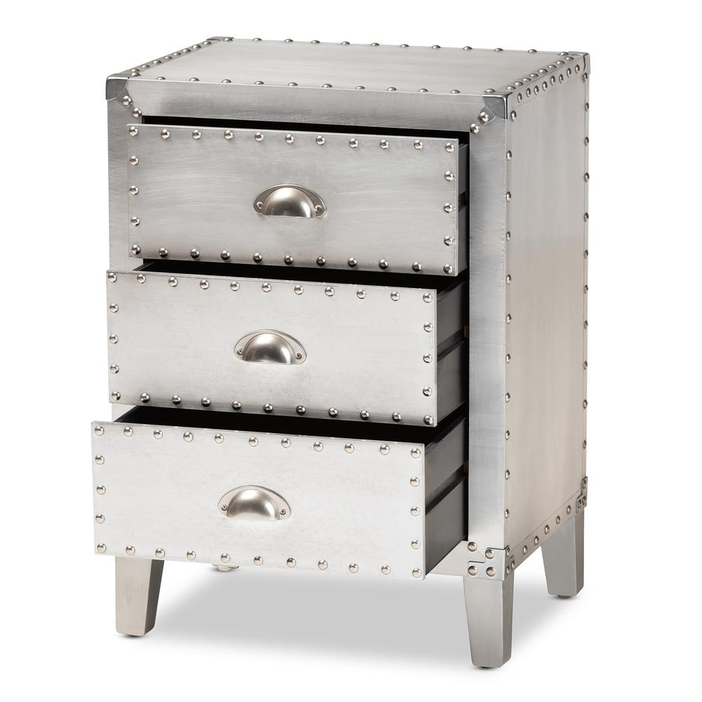Baxton Studio Claude French Industrial Silver Metal 3-Drawer Nightstand. Picture 12