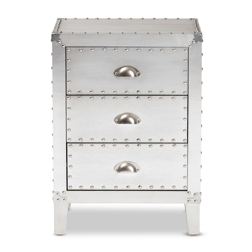 Baxton Studio Claude French Industrial Silver Metal 3-Drawer Nightstand. Picture 13