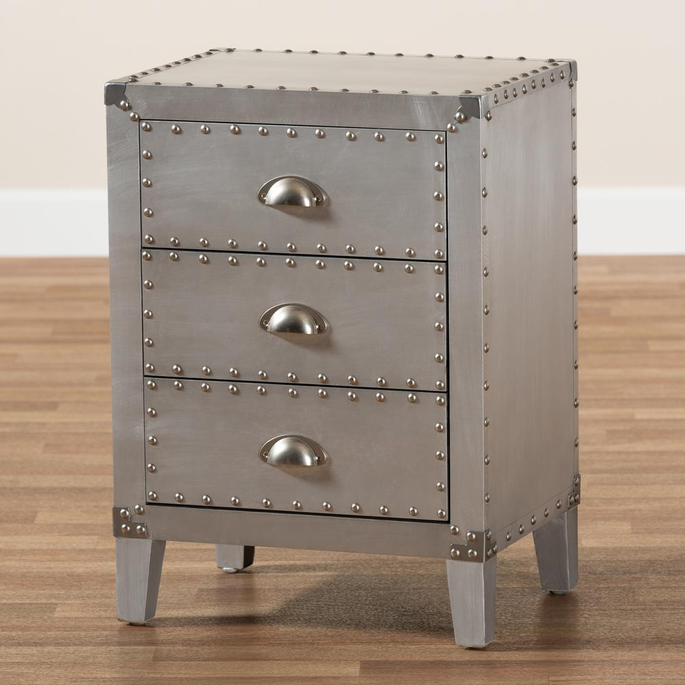 Baxton Studio Claude French Industrial Silver Metal 3-Drawer Nightstand. Picture 18